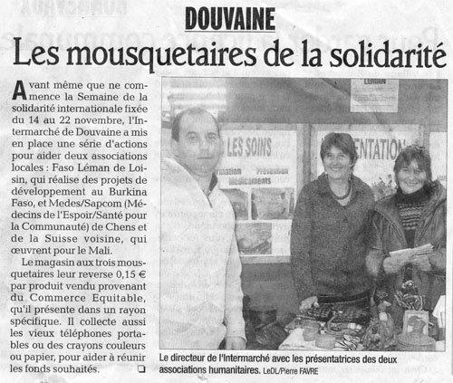article paru dans le dauphiné libéré - Novembre 2009